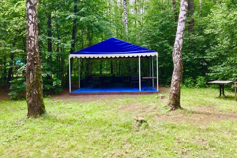 СИний шатер в лесу фото